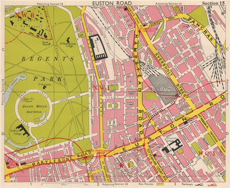 LONDON W1 WC1 NW1 Euston Regent's Park Bloomsbury Fitzrovia. BACON 1963 map