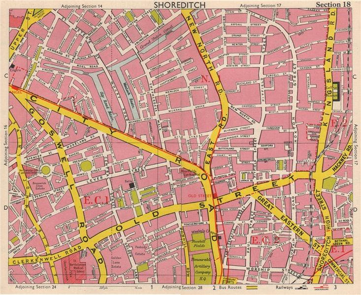 Associate Product LONDON EC1 EC2 N1 Shoreditch Hoxton Old Street Clerkenwell. BACON 1963 map