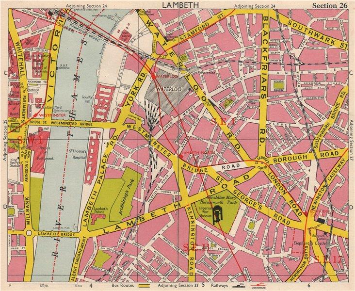 Associate Product LONDON SE1 SE11 SW1 Lambeth Waterlook Elephant & Castle Whitehall.BACON 1963 map
