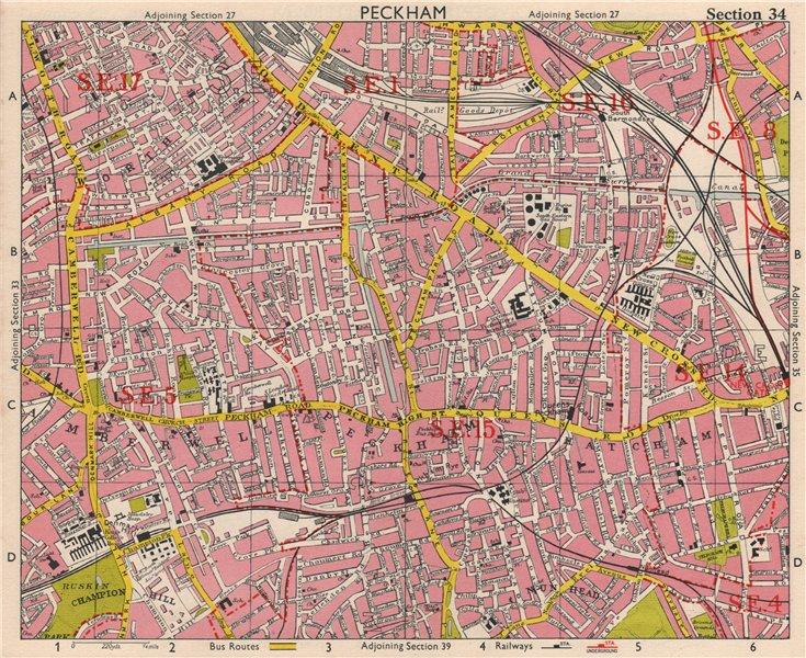 Associate Product SE LONDON. Peckham Camberwell Hatcham Denmark Hill Surrey canal. BACON 1963 map
