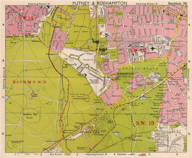 SW LONDON. Putney Roehampton Richmond Park Wimbledon Common. BACON 1963 map