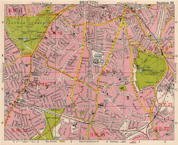 Associate Product S LONDON. Brixton Clapham Balham Herne Hill Streatham Tusle Hill.BACON 1963 map