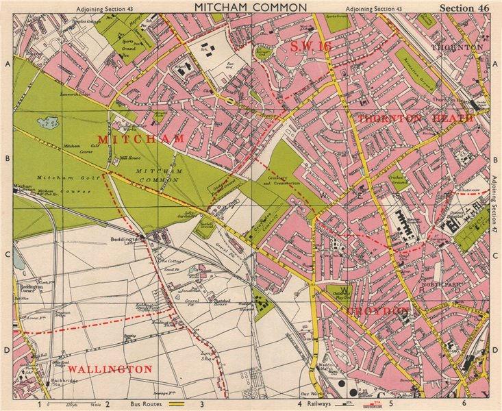 Associate Product S LONDON. Mitcham Common Thornton Heath Croydon Beddington. BACON 1963 old map