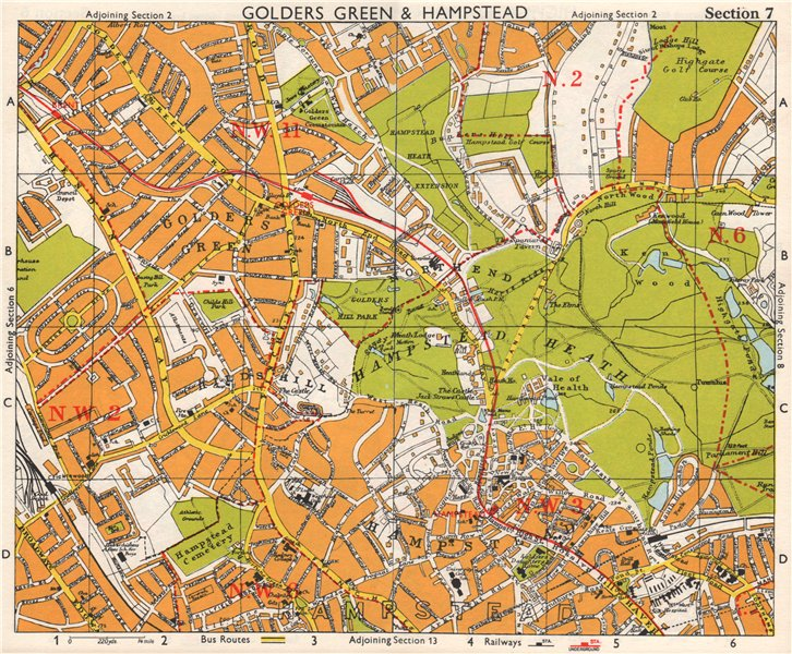 Associate Product NW LONDON. Golders Green Hampstead Child's Hill Cricklewood. BACON 1968 map