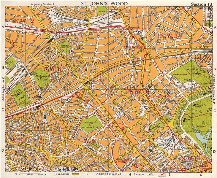 Associate Product NW LONDON. St John's Wood Belsize Park Maida Vale Queens Park. BACON 1968 map