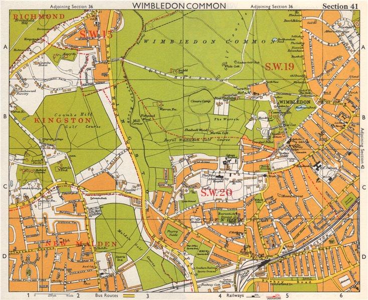 Associate Product SW LONDON. Wimbledon Common Cottenham Park Malden Coombe Hill. BACON 1968 map
