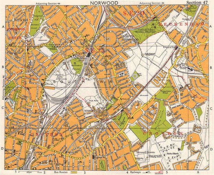 Associate Product S LONDON. Norwood Elmer's End Selhurst Croydon Addiscombe. BACON 1968 old map