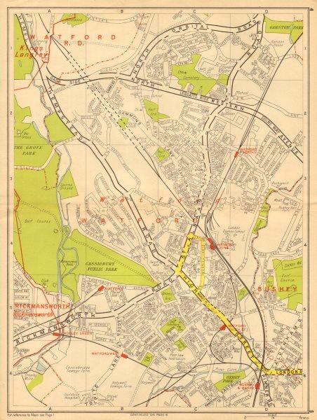 Associate Product WATFORD Bushey Oxhey Rickmansworth Cassiobury Park. GEOGRAPHERS' A-Z 1948 map