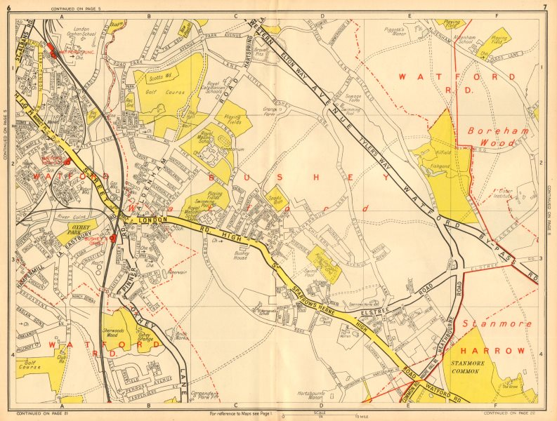 Associate Product BUSHEY & WATFORD Borehamwood Stanmore Common. GEOGRAPHERS' A-Z 1948 old map