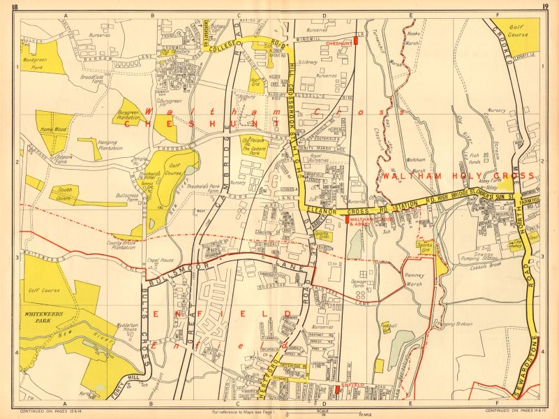 Associate Product ENFIELD WALTHAM CROSS Cheshunt Theobalds Grove. GEOGRAPHERS' A-Z 1948 old map
