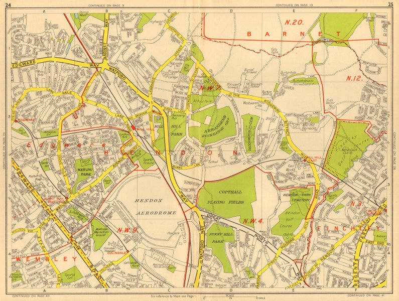 Associate Product BARNET NW9 NW4 NW7 Edgware Mill Hill Finchley Hendon. GEOGRAPHERS' A-Z 1948 map
