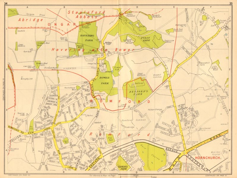 Associate Product ROMFORD Havering-atte-Bower Harold Hill Collier Row. GEOGRAPHERS' A-Z 1948 map
