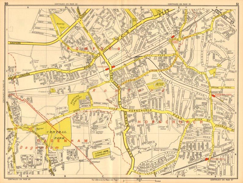 Associate Product ROMFORD Hornchurch Dagenham Emerson Park Gidea Park. GEOGRAPHERS' A-Z 1948 map