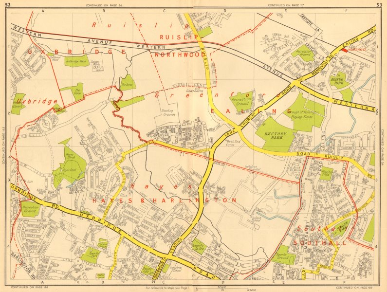 Associate Product HAYES HILLINGDON Southall Greenford Northolt . GEOGRAPHERS' A-Z 1948 old map