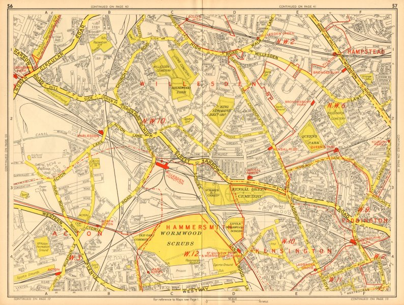 Associate Product LONDON NW Acton Willesden Queens Park North Kensington. GEOGRAPHERS A-Z 1948 map