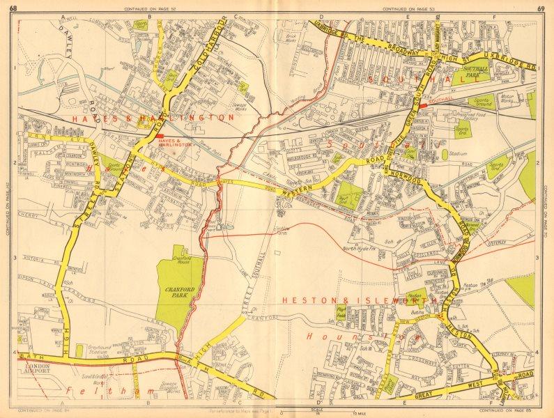 Associate Product HAYES HOUNSLOW SOUTHALL Harlington Cranford Heston. GEOGRAPHERS' A-Z 1948 map