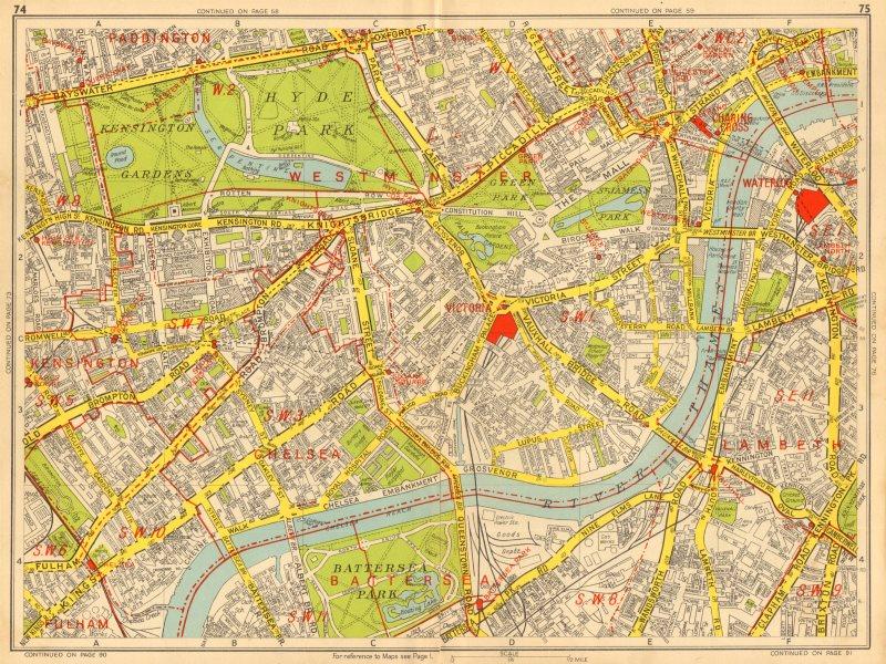 Associate Product WESTMINSTER CHELSEA LAMBETH Battersea Mayfair Victoria. GEOGRAPHERS A-Z 1948 map