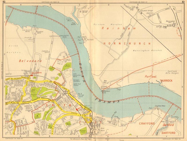 Associate Product ERITH Belvedere Rainham Marshes Wennington. GEOGRAPHERS' A-Z 1948 old map
