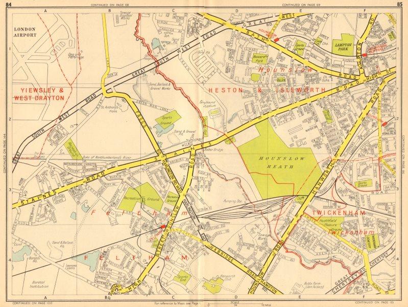 Associate Product HOUNSLOW Feltham Twickenham Heathrow Airport. GEOGRAPHERS' A-Z 1948 old map