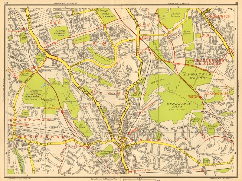 Associate Product BECKENHAM BROMLEY CATFORD Grove Park Bellingham Bickley GEOGRAPHERS A-Z 1948 map
