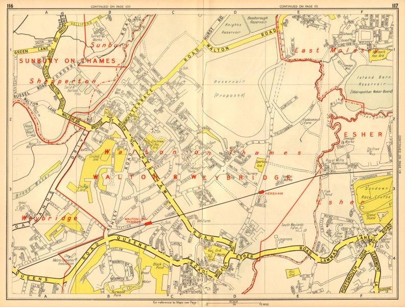 Associate Product WALTON-ON-THAMES Shepperton Sunbury Esher East Molesey. GEOGRAPHERS A-Z 1948 map
