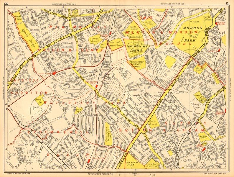Associate Product WORCESTER PARK Morden Sutton New Malden Ewell. GEOGRAPHERS' A-Z 1948 old map