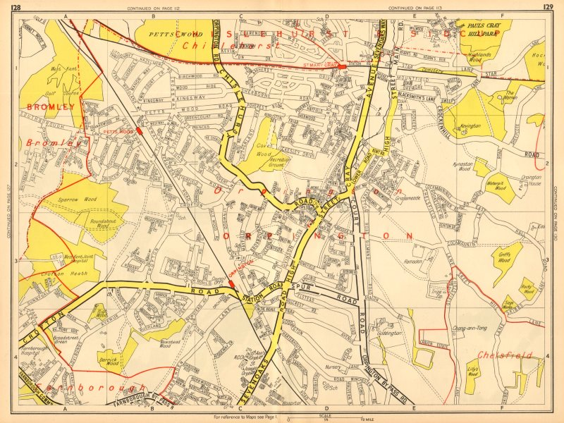 Associate Product ORPINGTON Bromley Pett's Wood St Mary Cray. GEOGRAPHERS' A-Z 1948 old map