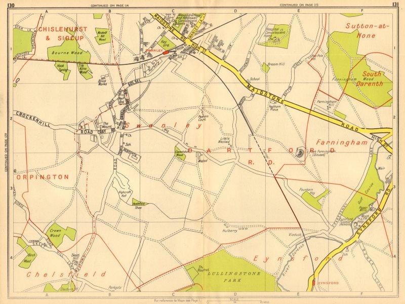 Associate Product LONDON SE Eynsford Swanley Farningham. GEOGRAPHERS' A-Z 1948 old vintage map