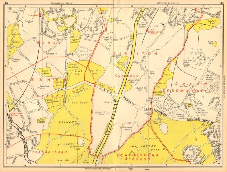 Associate Product LONDON SW Chessington Claygate Oxshott Surbiton Epsom. GEOGRAPHERS' A-Z 1948 map