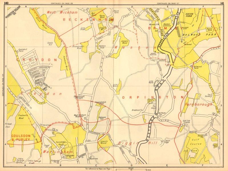Associate Product NEW ADDINGTON Biggin Hill Holwood Park Farnborough. GEOGRAPHERS' A-Z 1948 map