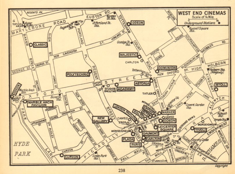 LONDON West End Cinemas. News Cinemas (unboxed). GEOGRAPHERS' A-Z 1948 old map