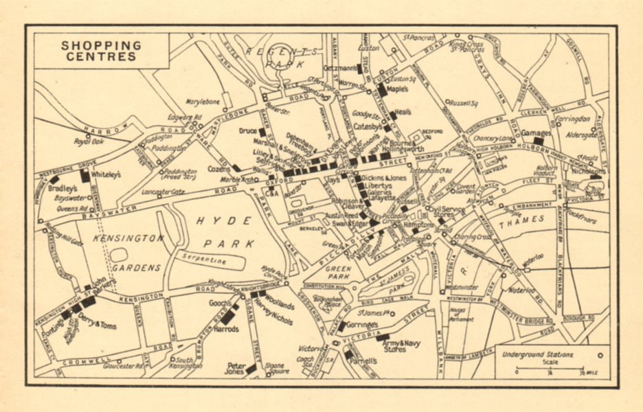 Associate Product LONDON 'Shopping Centres' (Department stores). GEOGRAPHERS' A-Z 1948 old map
