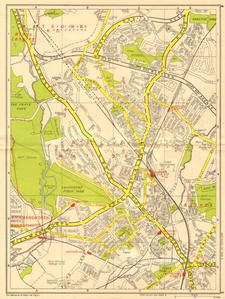 Associate Product WATFORD Bushey Oxhey Rickmansworth Cassiobury Park. GEOGRAPHERS' A-Z 1956 map