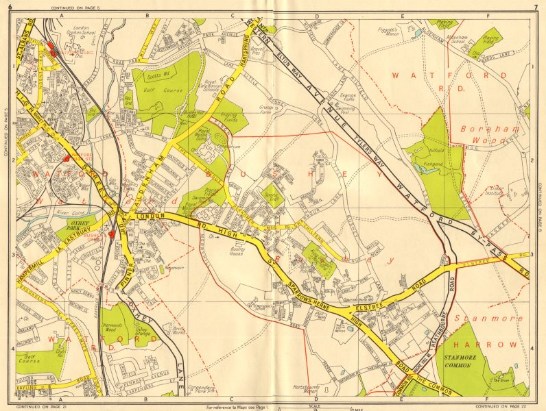 Associate Product BUSHEY & WATFORD Borehamwood Stanmore Common. GEOGRAPHERS' A-Z 1956 old map
