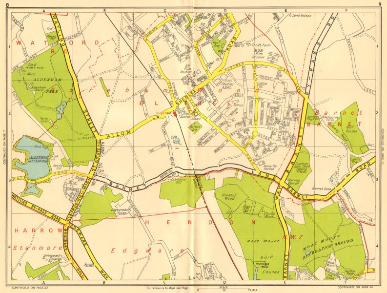 Associate Product ELSTREE Barnet Borehamwood Hendon Stanmore NW7. GEOGRAPHERS' A-Z 1956 old map