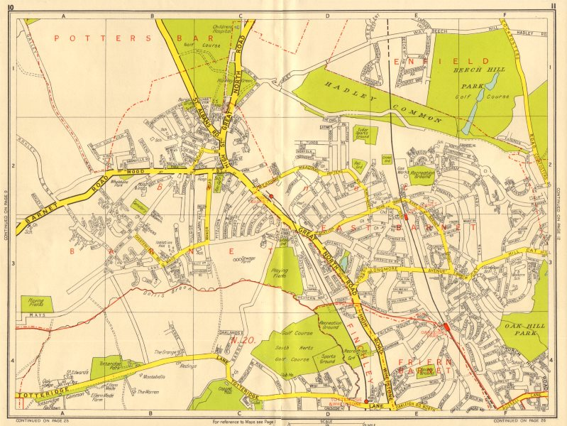 Associate Product HIGH BARNET Totteridge Whetstone Oakleigh Park N20. GEOGRAPHERS' A-Z 1956 map