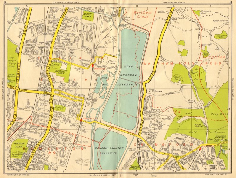 Associate Product ENFIELD N9 E4 Brimsdown Chingford Ponder's End. GEOGRAPHERS' A-Z 1956 old map