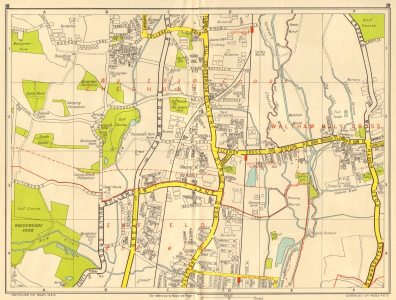 Associate Product ENFIELD WALTHAM CROSS Cheshunt Theobalds Grove. GEOGRAPHERS' A-Z 1956 old map