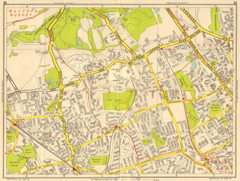 Associate Product HARROW STANMORE Edgware Queensbury Belmont Wealdstone. GEOGRAPHERS' A-Z 1956 map