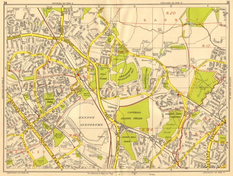 Associate Product BARNET NW9 NW4 NW7 Edgware Mill Hill Finchley Hendon. GEOGRAPHERS' A-Z 1956 map