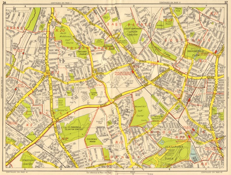 Associate Product LONDON N Southgate Finchley Wood Green Arnos Grove. GEOGRAPHERS' A-Z 1956 map