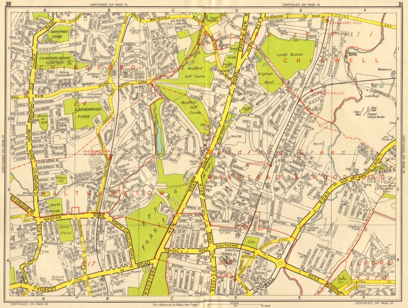 Associate Product WOODFORD GREEN CHINGFORD Buckhurst Hill Walthamstow. GEOGRAPHERS' A-Z 1956 map