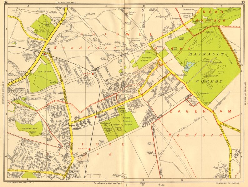 Associate Product ILFORD CHIGWELL Grange Hill Woodford Green Hainault. GEOGRAPHERS' A-Z 1956 map