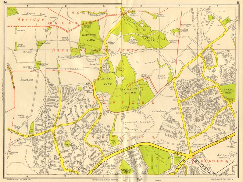 Associate Product ROMFORD Havering-atte-Bower Harold Hill Collier Row. GEOGRAPHERS' A-Z 1956 map