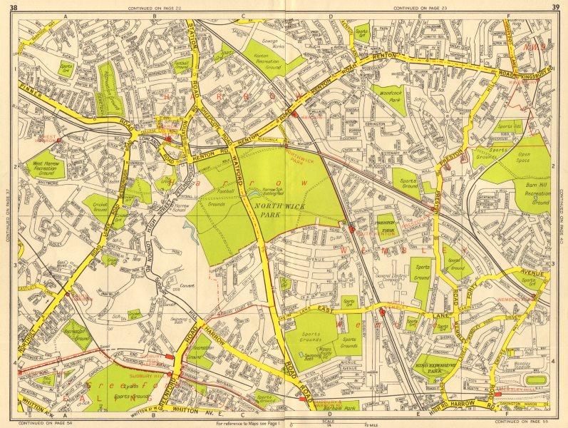 Associate Product HARROW WEMBLEY Greenford Kenton Sudbury Hill. GEOGRAPHERS' A-Z 1956 old map