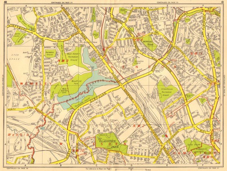 Associate Product BRENT HENDON Cricklewood Neasden Golders Green. GEOGRAPHERS' A-Z 1956 map