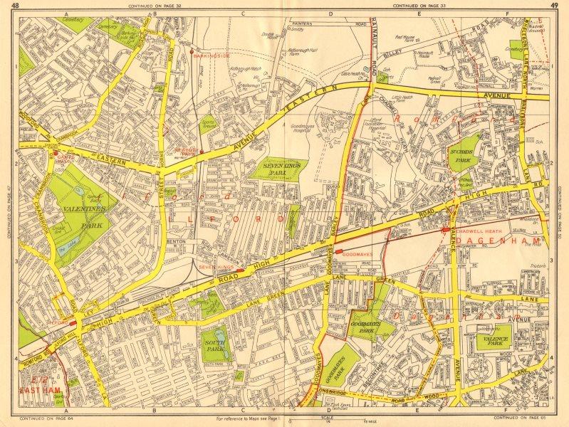 Associate Product ILFORD Dagenham Romford Barkingside Chadwell Heath. GEOGRAPHERS' A-Z 1956 map