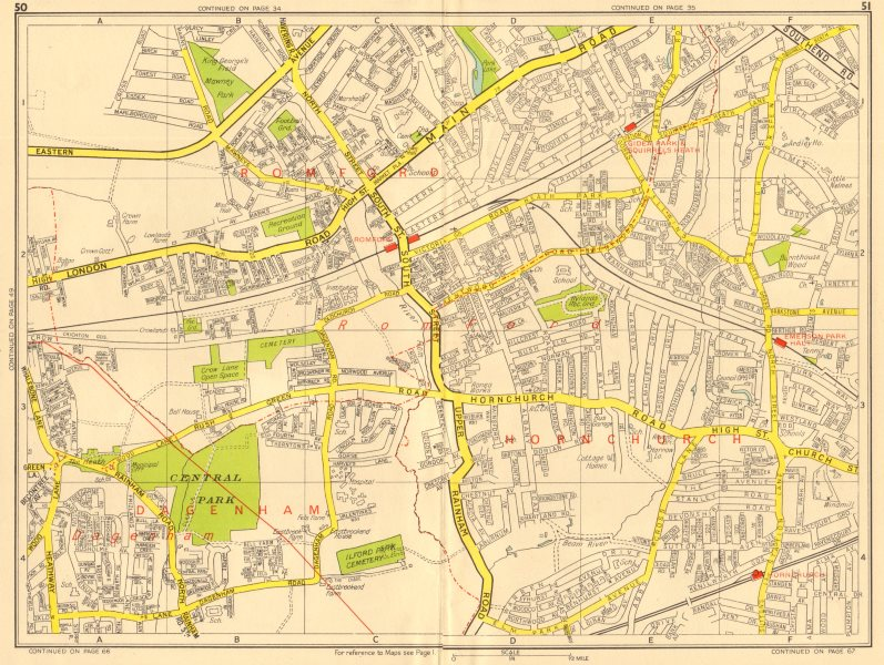 Associate Product ROMFORD Hornchurch Dagenham Emerson Park Gidea Park. GEOGRAPHERS' A-Z 1956 map