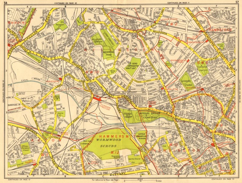 Associate Product LONDON NW Acton Willesden Queens Park North Kensington. GEOGRAPHERS A-Z 1956 map