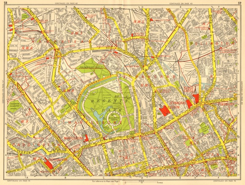 Associate Product Marylebone Islington St John's Wood Bloomsbury Camden. GEOGRAPHERS' A-Z 1956 map